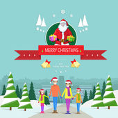 Christmas greeting card with family — Stock Vector