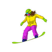 Snowboarder sliding down — Stock Vector