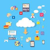 Cloud internet download device — Stockvektor