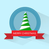 Christmas tree on greeting card — Stock Vector