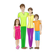 Happy family four people — Vetorial Stock