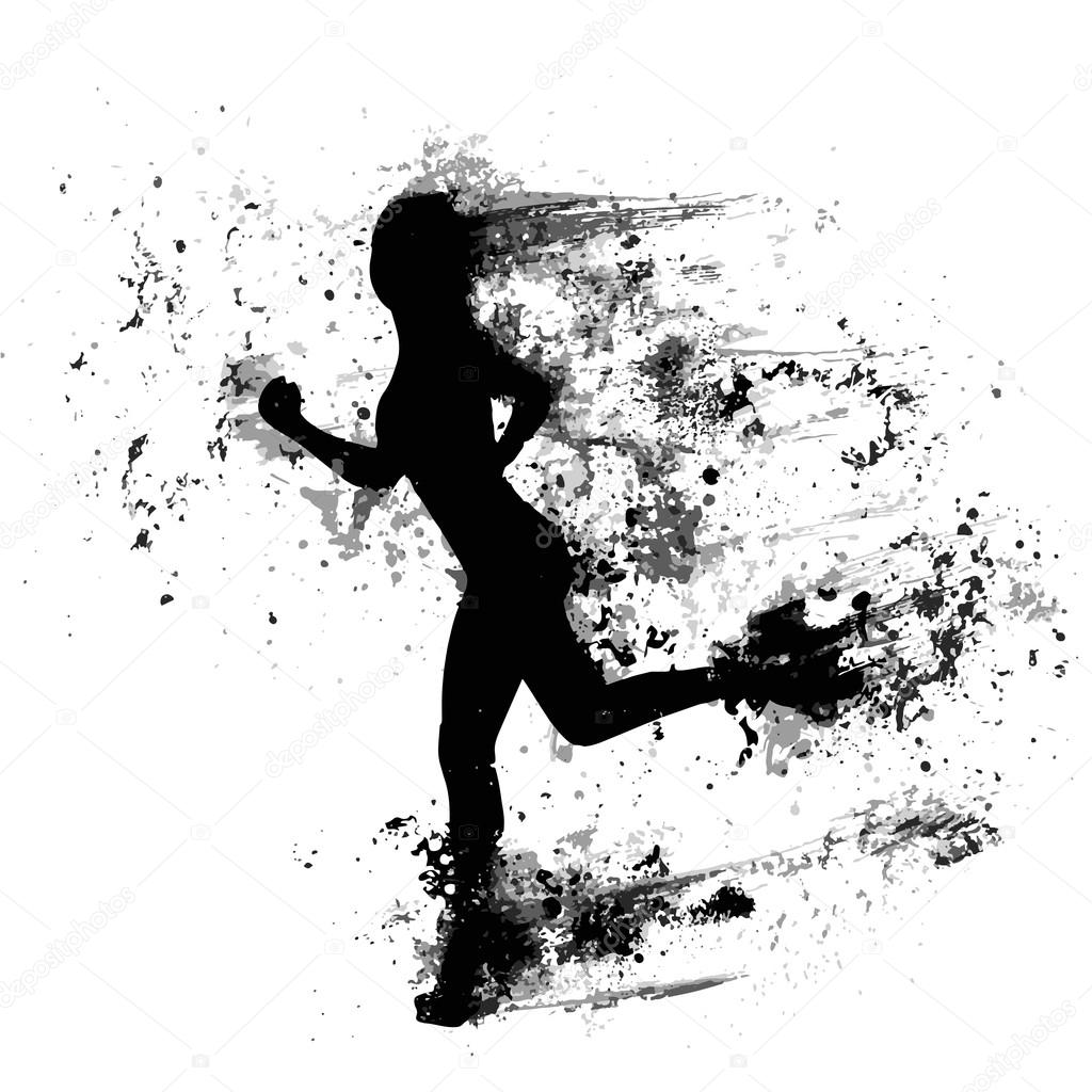 Running man and woman black silhouette isolated vector