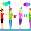 Happy birthday casual group of people — Stock Vector #62279835