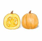 One and a half  pumpkin with stem — Stock Vector