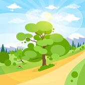 田舎道で緑の木 — ストックベクタ