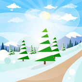 Winter forest landscape — Stock Vector