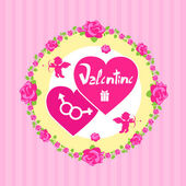Pink Valentine's Day card — Stock Vector