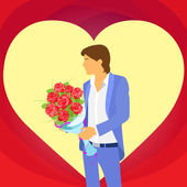 Man with rose bouquet — Stock Vector