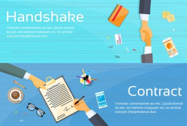 Handshaking Businessman  with Contract