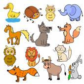 Set of multicolored different animals — Stock Vector