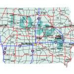Iowa Interstate Highway Map — Stock Vector #52253497