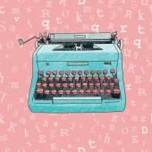 Hand Drawn Typewriter Seamless Design — Stock Vector