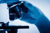Working with Microscope — Zdjęcie stockowe