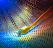 Network cable with high tech technology color background — Stock Photo