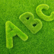 Alphabet letters ABC made from grass with grass background — Stock Photo #68212715