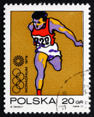 Postage stamp Poland 1972 Olympic Runner — Stock Photo