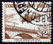 Postage stamp Chile 1956 Helicopter over Bridge — Stock Photo