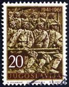 Postage stamp Yugoslavia 1961 Insurrection, Bosansko Grahovo — Stock Photo