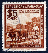 Postage stamp Paraguay 1940 Plowing — Stock Photo