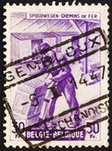 Postage stamp Belgium 1945 Freight Station Interior — Stock Photo
