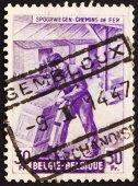 Postage stamp Belgium 1945 Freight Station Interior — Stock Photo