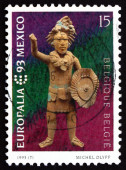 Postage stamp Belgium 1993 Mayan Statuette — Stock Photo