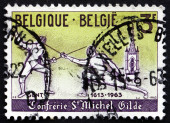 Postage stamp Belgium 1963 Modern Fencers — Stock Photo