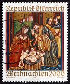 Postage stamp Austria 2000 Altar Sidewing, Christmas — Stock Photo