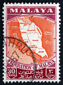 Postage stamp Malaya 1957 Map of Federation of Malaya — Stock Photo