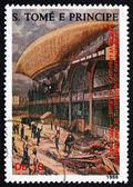 Postage stamp Sao Tome and Principe 1988 Airship Le Jeune — Stock Photo