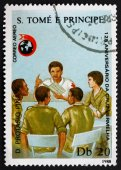 Postage stamp Sao Tome and Principe 1988 Instructing Workers — Stock Photo