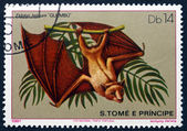 Postage stamp Sao Tome and Principe 1981 Straw-coloured Fruit Ba — Stock Photo