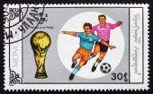 Postage stamp Mongolia 1990 Soccer Player in Action — Stock fotografie
