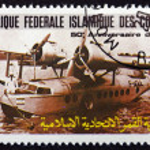 Postage stamp Comoros 1985 F-AOUL Seaplane — Stock Photo #52790449