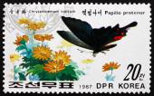 Postage stamp North Korea 1987 Papilio Protenor and Chrysanthemu — Stock Photo