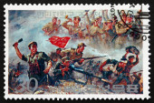 Postage stamp North Korea 1990 Battle Scene, Victorious Soldiers — Stock Photo