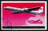 Postage stamp North Korea 1978 Ilyushin Il-18 Airliner — Stock Photo