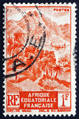 Postage stamp French Equatorial Africa 1946 Mountainous Shore Li — Stock Photo