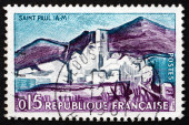 Postage stamp France 1961 View of Saint-Paul, Maritime Alps — Stock Photo