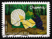 Postage stamp France 2010 Chaource Cheese, Local French Dish — Stock Photo