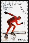 Postage stamp Sahara 1992 Speed Skating — Stock Photo