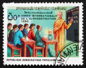 Postage stamp Laos 1990 Monk Teaching Class — Stock Photo