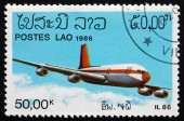 Postage stamp Laos 1986 IL86 Soviet Jet Airliner — Stock Photo