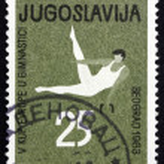Postage stamp Yugoslavia 1963 Gymnastic Position, Pommel Horse — Stock Photo #53290737