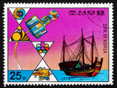 Postage stamp North Korea 1976 Satellite and Junk — Stock Photo