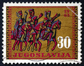 Postage stamp Yugoslavia 1963 Horseback Trio, Split Cathedral — Stock Photo