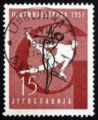 Postage stamp Yugoslavia 1957 Gymnastic Position, Pommel Horse — Stock Photo