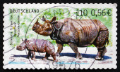 Postage stamp Germany 2001 Indian Rhinoceros — Stock Photo
