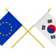 Flags of European Union and Republic of Korea, 3d render, isolat — Stock Photo #53608275