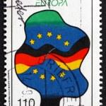 Постер, плакат: Postage stamp Germany 1998 Flags of Germany and EU